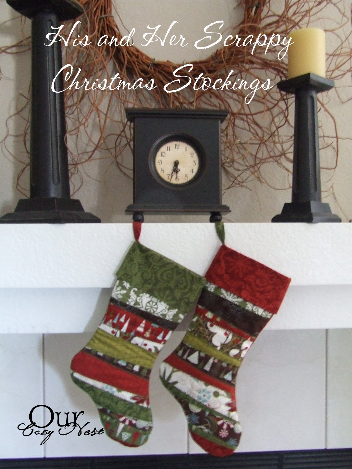 his and her scrappy christmas stockings