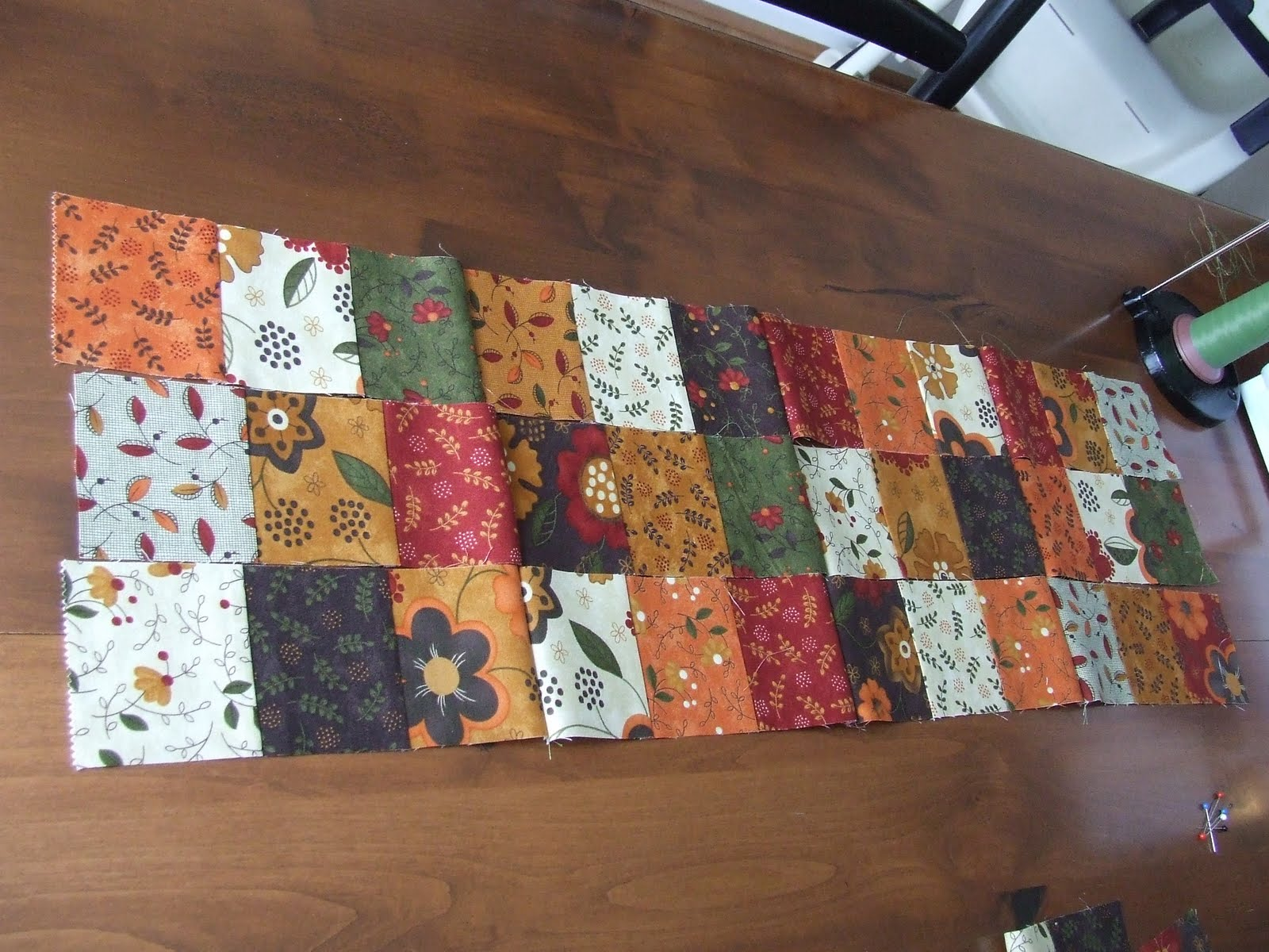 How to sew a table runner - For The Table Topper You Want To Arrange 9 Squares By 9 Squares For A Total Of 81 Squares Sew Together A Row At A Time And Then Sew Your Rows Together