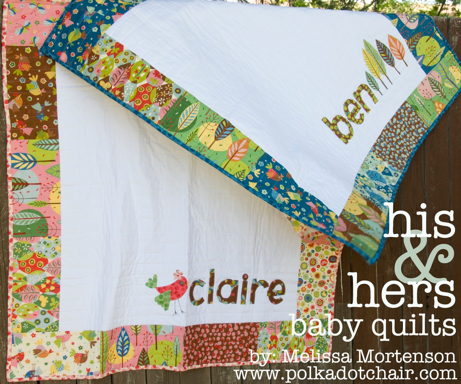 his hers personalized baby quilts moda bake shop