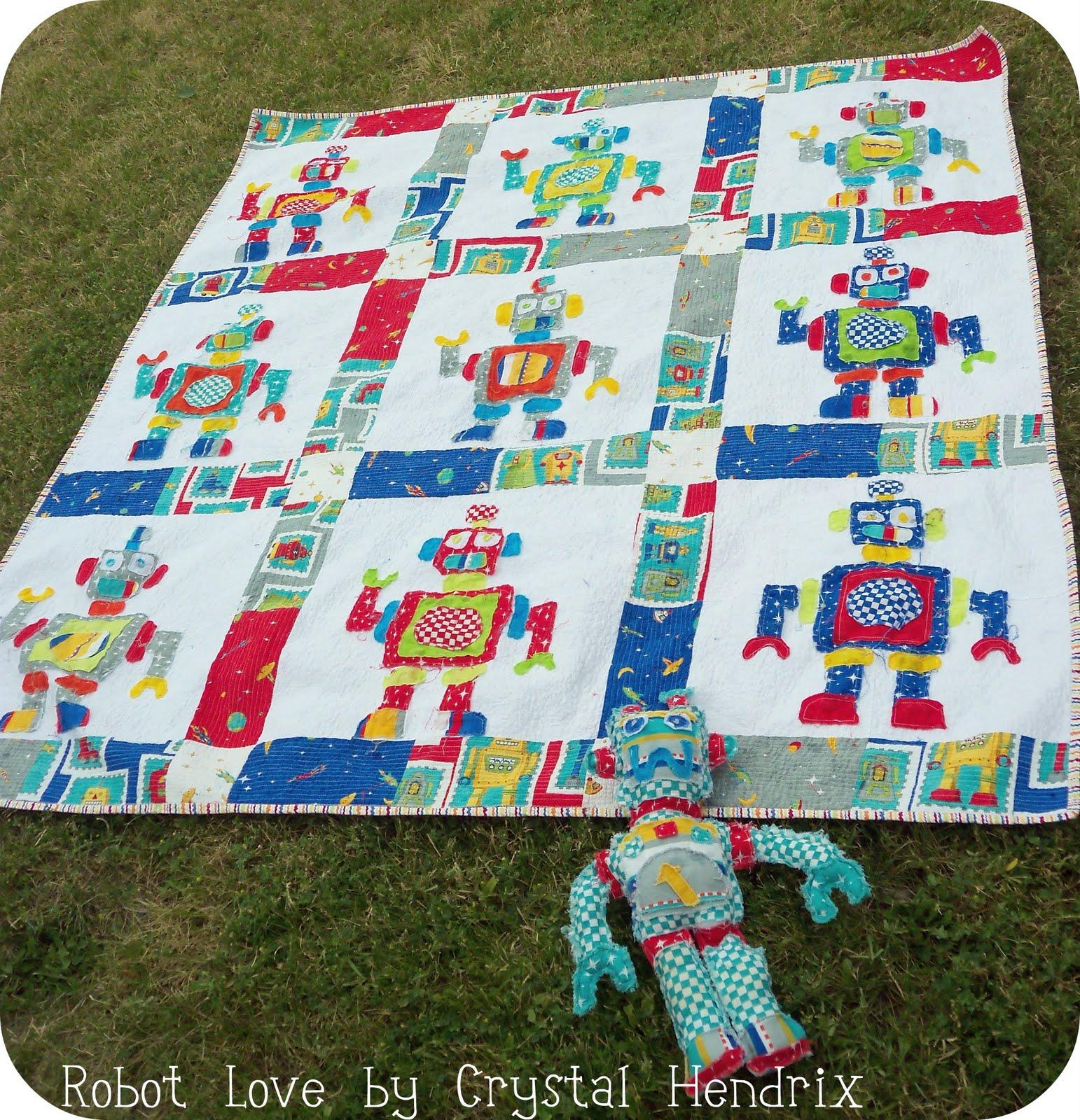 Robot love quilt moda bake shop for Robot quilt fabric